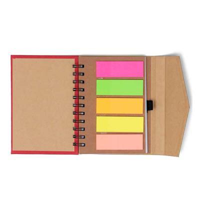 Spaceluz Brindes - Bloco de anotações ecológico com sticky notes e suporte para caneta. Bloco de capa colorida com abertura lateral imantada, primeira folha com cinco bl...