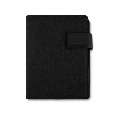 Spaceluz Brindes - Caderno de anotações com power bank 4.000 mAh e bateria de Lítio, com capa PU - Poliuretano e Poliester. Interior com porta documentos, cartões e cane...