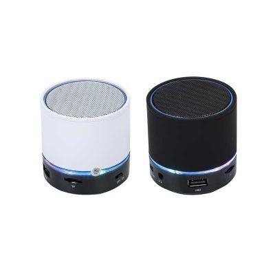 Spaceluz Brindes - Caixa de som redonda de metal, com bluetooth