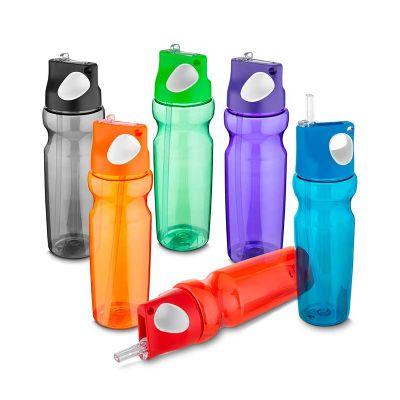 - Garrafa plástica 870 ml com alça de mão emborrachado e canudo PETG material (PET modificado com CHDM) Medidas: 28 x 7cm – Peso do produto: 150gr Emb....