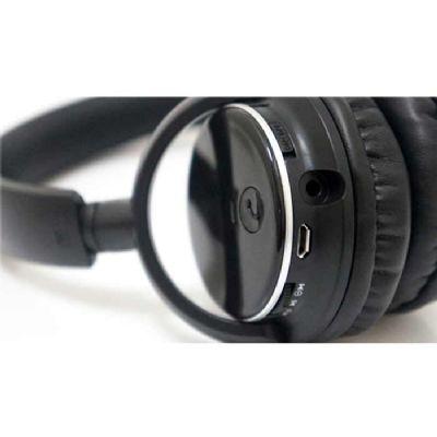 Headfone wireless preto com haste ajustável e fones giratórios