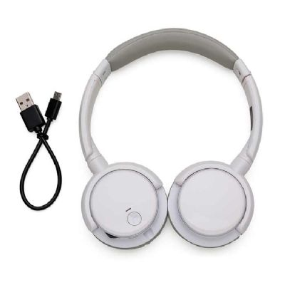 Headfone wireless preto com haste ajustável e fones giratórios - Spaceluz Brindes