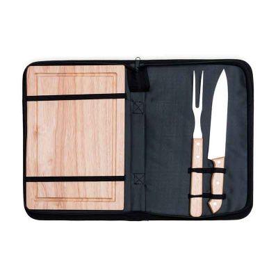 Spaceluz Brindes - Kit churrasco 2 peças com tábua de madeira em estojo de nylon com alça