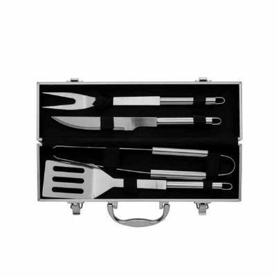 Kit churrasco 4 peças em maleta de alumínio com relevo - Spaceluz Brindes