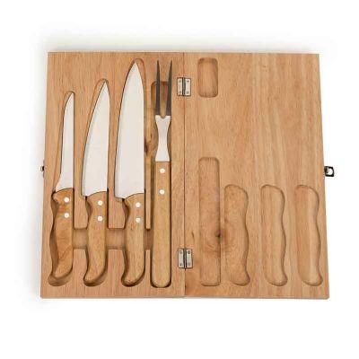 Kit churrasco 4 peças em estojo de madeira com frente e verso liso, possui trava de metal.