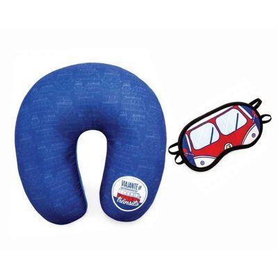 Spaceluz Brindes - Kit Almofada de pescoço com máscara de dormir