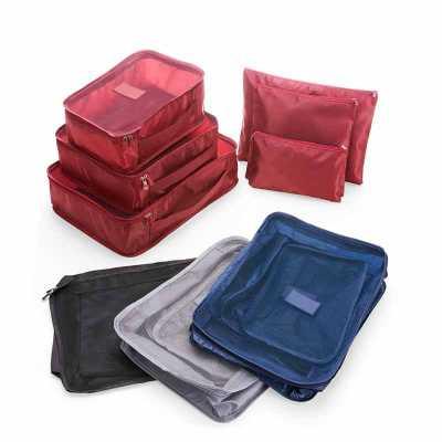 spaceluz-brindes - Kit 6 necessaire confeccionadas em nylon
