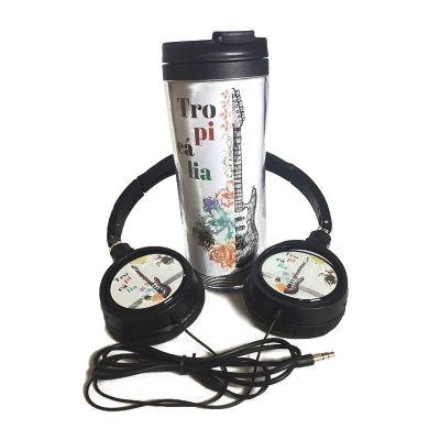 Spaceluz Brindes - Kit Copo café com Fone de ouvido