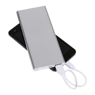 spaceluz-brindes - Power bank de metal com indicador de carga em led