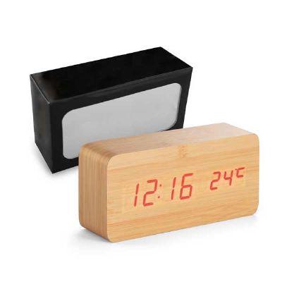 Relógio de mesa em MDF com calendário e alarme - Spaceluz Brindes