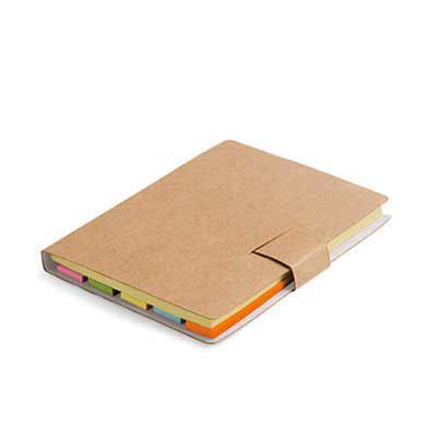 Bloco de anotação em cartão kraf com 7 blocos adesivados - Spaceluz Brindes