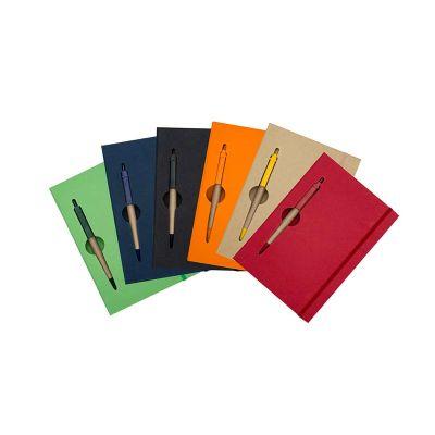 spaceluz-brindes - Bloco de anotações brochura capa dura com caneta ecológica
