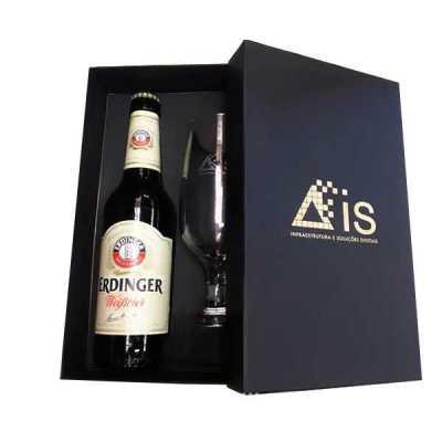 spaceluz-brindes - Kit cerveja Erdinger com taça e caixa rígida