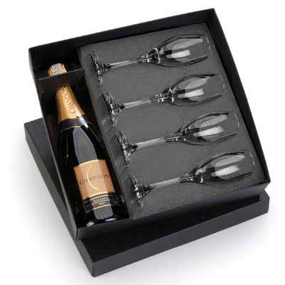 Kit Chandon 750ml. com 4 taças - Spaceluz Brindes
