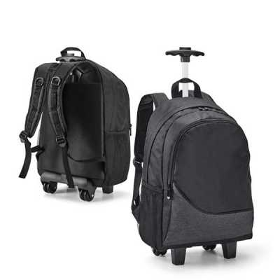 Spaceluz Brindes - Mochila trolley para notebook. 300D. Com 2 rodas duplas. Compartimento principal forrado e almofadado, com divisória almofadada para notebook até 15.6...