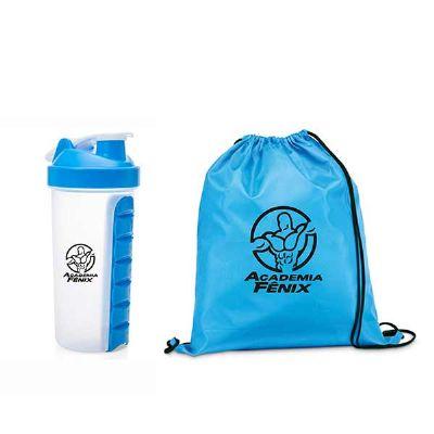 Spaceluz Brindes - Kit mochila saco com Coqueteleira plástica 750ml
