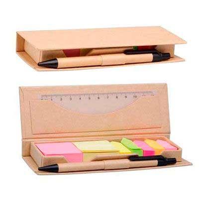 Iandê Brindes - Bloco de anotações com caneta, régua e sticky notes