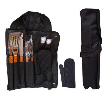 - Kit churrasco com 8 peças, avental em nylon com botões e alça travável para fechar o kit. Peças de inox com acabamento em madeira e acompanha protetor...