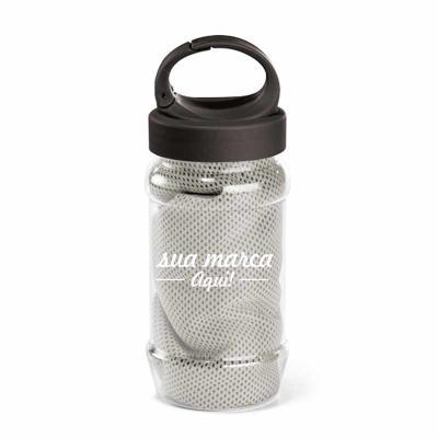 iande-brindes - Squeeze plástico personalizável com toalha em poliamida e poliéster no formato 65x125mm reutilizável
