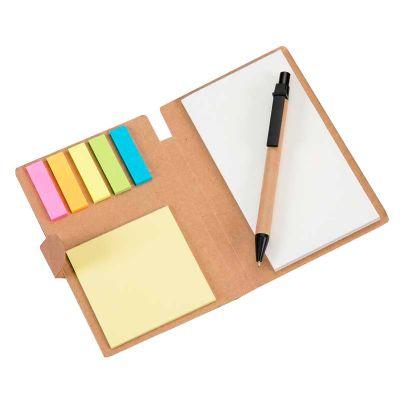 Bloco de anotações ecológico com caneta e sticky notes - Inmark Brindes