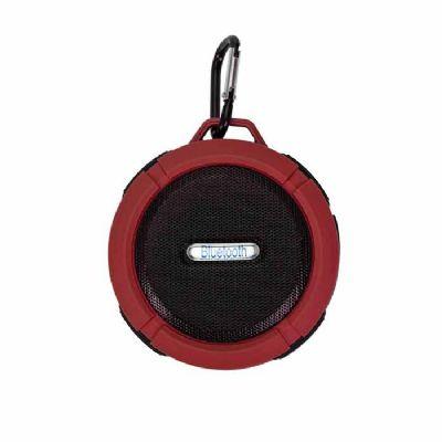 Inmark Brindes - Caixa de som bluetooth/wireless emborrachada à prova dágua com ventosa, acompanha suporte com mosquetão. Segurar botão power para ligar e desligar, po...