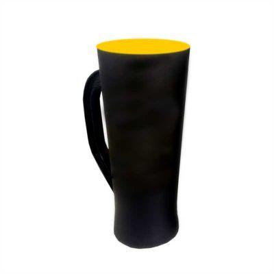 multimidia-news - Taça preto Fosco fundo amarelo