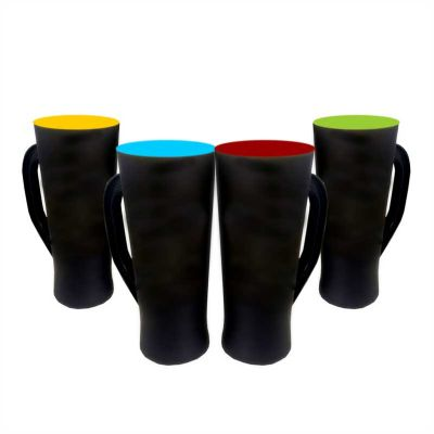 multimidia-news - Caneca slim preto fosco cores internas