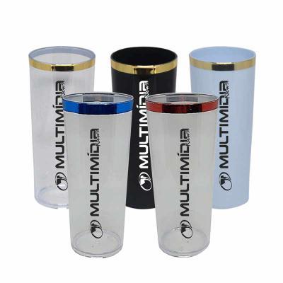 multimidia-news - Copo Long Drink 330ml com borda metalizada Material: PS Acrílico  Nossos copos Long Drinks são feitos apenas com produtos de excelente qualidade, e pa...