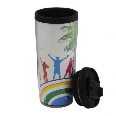 customiza-brindes - Caneca com tampa e porta foto 350ml