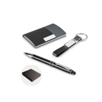 Customiza Brindes - Kit de porta cartões, chaveiro e esferográfica