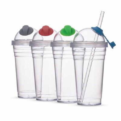 customiza-brindes - Copo Plástico 480ml com Canudo