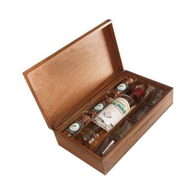 Kit Cachaça Salinas, 4 copos para dose, 3 potes petiscos e caixa