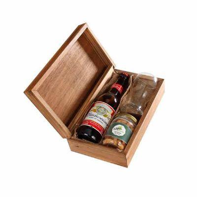 Kit Cerveja com caixa , cerveja Budweiser, copo de vidro e pote de petisco personalizados - Eco Design