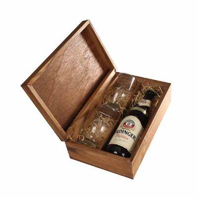 Kit Cerveja com cerveja Erdinger, dois copos  e caixa - Eco Design
