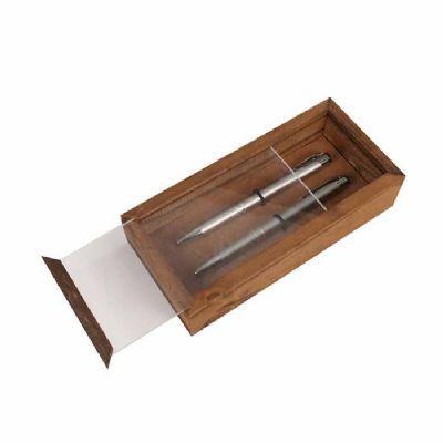 Kit Escritório com caneta, lapiseira e caixa de madeira - Eco Design