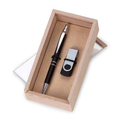 Kit Escritório com caneta, pen drive 4GB e caixa - Eco Design
