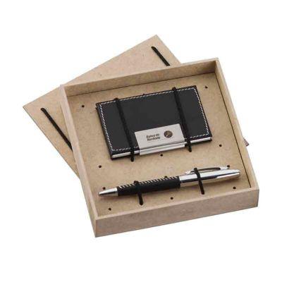 Kit Escritório com Caneta, Porta Cartão e caixa