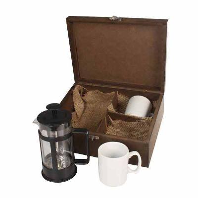 Kit Café com caixa de madeira envelhecida - Eco Design