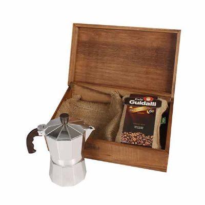 Kit Café com caixa em madeira envelhecida