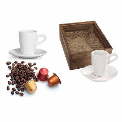 eco-design - Kit Café com caixa de madeira envelhecida