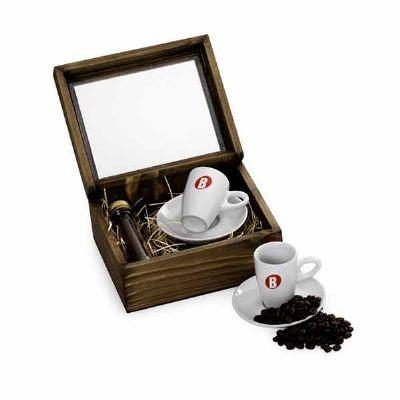 Kit Café com caixa de madeira envelhecida
