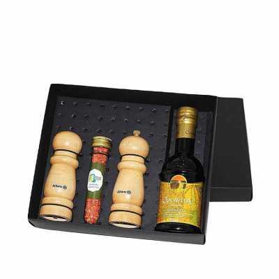 Kit Azeite em caixa de papel duplex com azeite Italiano extra virgem Colavita de 250 ml com 1 tubete de acrílico com temperos e pimentas a escolher co... - Eco Design