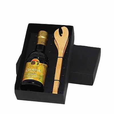 Kit Azeite em caixa de papel duplex com azeite Italiano extra virgem Colavita de 250 ml com pegador de salada de bambu com gravação na tampa da caixa... - Eco Design