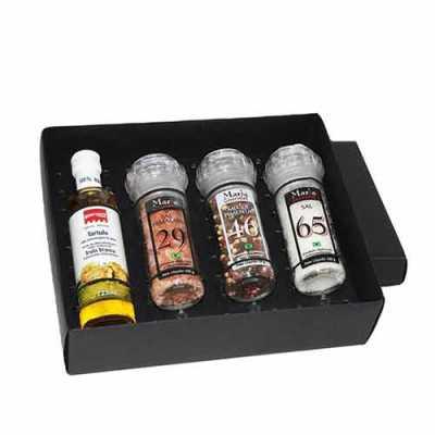 Kit Azeite em caixa de papel duplex com azeite Italiano extra virgem Montosco de 125 ml com 3 pot...