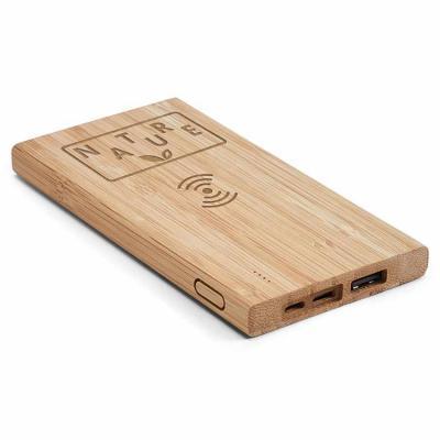 Bateria portátil em bambu Personalizada