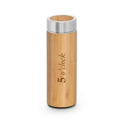 Garrafa térmica em bambu e aço inox personalizada