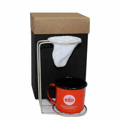 Kit café com coador inox