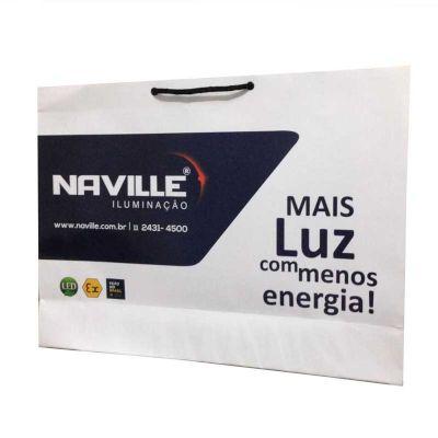 - Sacolas personalizadas papel offset 180g Impressão off-set Acabamento em Corte Vinco Ilhós, Cordão, Gorgorão