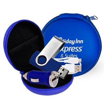 amoriello-brindes-promocionais - Kit Pen drive que contém um cabo USB, um carregador veicular e já inclui o Pen drive