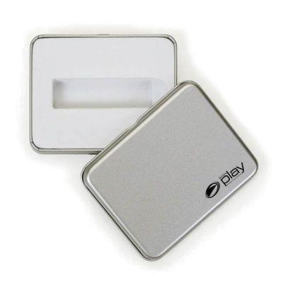 Estojo de metal com tampa para pen drive - Amoriello Brindes Promocionais